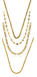 Charms Combo Of Four Gold Plated Chains For Mens & Boys