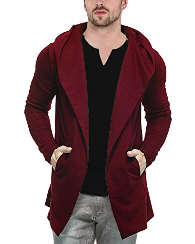 Veirdo Men's Cotton Blend Hooded Cardigan Casual wear, Party wear (Large, Maroon)