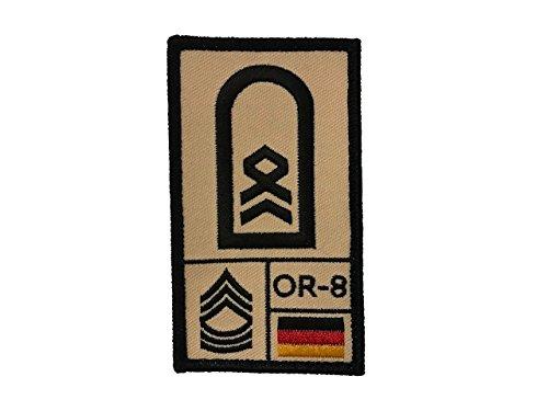 Stabsfeldwebel Bundeswehr Rank Patch mit Dienstgrad, Deutschlandflagge, Nato-Rang und US-Rank gestickt mit Klett (sand) (Nähen Rang)