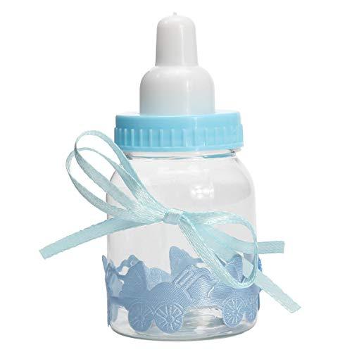 ChaRLes 12Pcs Füllbare Flaschen Candy Box Baby-Dusche-Taufe Party Zugunsten Taufe - Blau