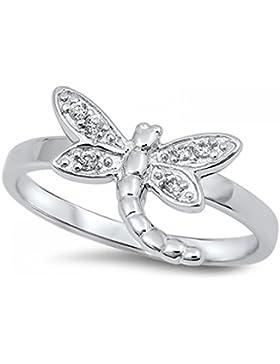 Ring aus Sterlingsilber mit Zirkonia - Libelle