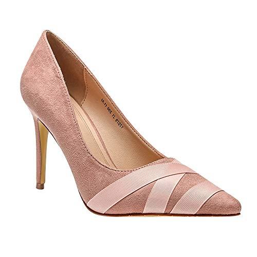 Qduoduo Damen Elegante High Heels Mode flachen Mund Spitzen Schuhen Arbeit Büro Schuhe Braut rutschfeste Schuhe dünne Schuhe High Heels sexy Party Gericht Schuhe (Flitterwochen Klassisch 39)