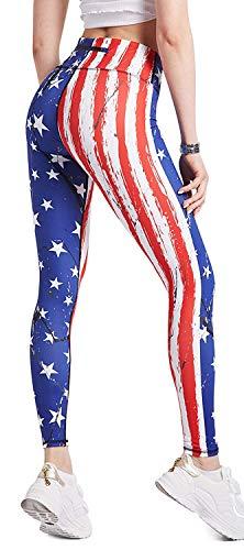 COOLOMG Damen Sport Leggings Yoga Hosen-Fitnesshose, Us-flagge (Lang), Gr.-XS