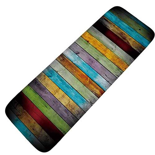 Küchenmatte Schmutzfangmatte Türmatte Flanell Polyester Material Rutschfester Waschbarer Sauberlaufmatte Home Decoration Kunkka-16, Vertical Wooden Board, 50x120cm