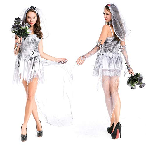 Idollcg kostum,Halloween Kostüm Cosplay Kostüm Furchterregendes Kostümkleid Aus Sterlingsilber For Halloween Mit Weiblicher Zombie-Party-Kostümdekoration For Schleiertanzparty (Furchterregende Kostüm)