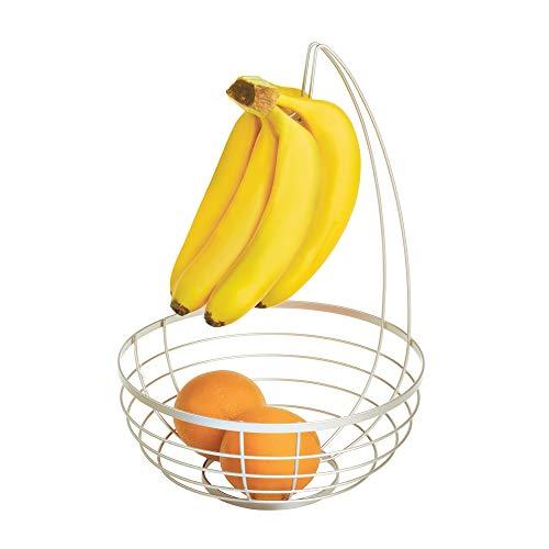 iDesign Austin Obstschale mit Bananenhalter, runder Obstkorb aus Metall, mattsilberfarben