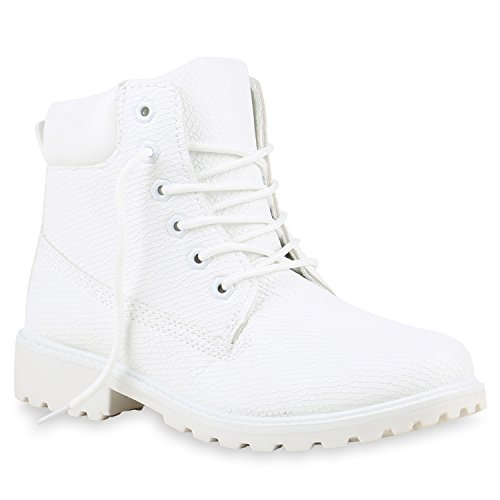 Kostüm Stiefel Herren Weiß (UNISEX Damen Herren Worker Boots Profil Sohle Stiefeletten Outdoor Schuhe 122237 Weiss 39 |)