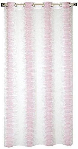 Homemaison Voilage Jacquard Àondes Colorées, Polyester, Vieux Rose, 240x140 cm