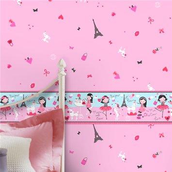 Coloroll Kids Mimi Oscar Border Wallpaper - Pink by Coloroll Kids