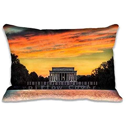 Home Bedroom Decor Custom Lincoln Memorial Sunset Pillowcase Zippered Two Sides Design Printed 20x30 pillows Standard Pillow Cover Cushion Case Covers
