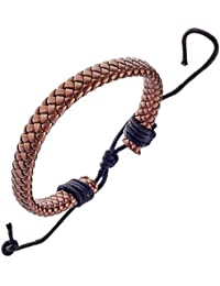 Bracelet pour Homme en Cuir Tressé de Couleur Cuivre