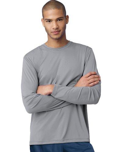hanes-t-shirt-manches-longues-homme-noir-gris-grand