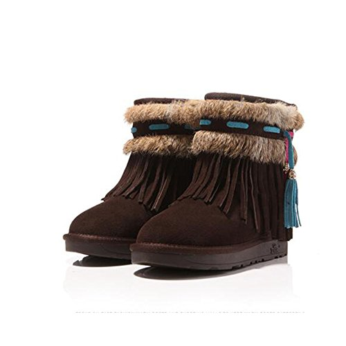 FUFU Scarpe da donna / Stivali da neve invernali / Stivali da moda Outdoor / Flat Heel Beige / Cammello / Marrone ( Colore : Beige , dimensioni : EU37/UK4-4.5/CN37 ) Marrone
