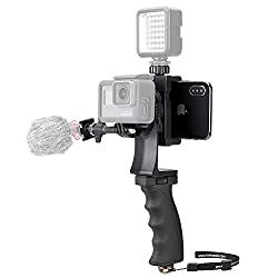 2in1 Portable Action Camera + Phone SYN Video Kit Ergonomic Hand Grip Stabilizer Camcorder Handle Mount We-Media Youtube Livestream Vlog Rig Holder Compatible for GoPro Sony DJI OSMO Action + iPhone