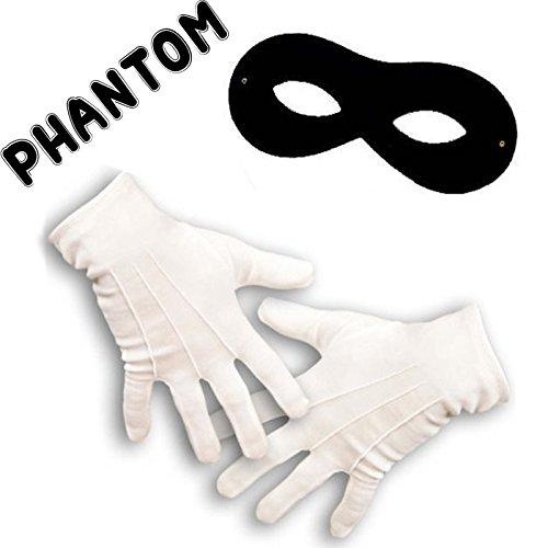 German Trendseller® - Stoffbrille Schwarz + Ein Paar Handschuhe mit Biesen┃ für Erwachsene ┃ Zorro ┃ Bandit ┃ Karneval / Fasching Set (Zorro Handschuhe)