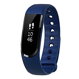 LETSCOM Smart Tracker Watch, Smart Pedometer Bracelet and Sleep Monitor, Bluetooth 4.0 Activity Tracker, IP67 Waterproof Fitness Tracker, OLED Touch Screen Fitness Tracker, Blue