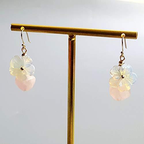 QQSS Opal Kristall Blumen Rose Quarz Ohrringe 925 Sterling Silber Handgemachte Ohrringe Delicate Schmuck Für Frauen