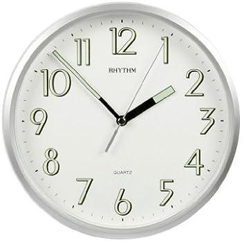 Rhythm Plastic Silver Finish Silent Sweep Wall Clock Luminous