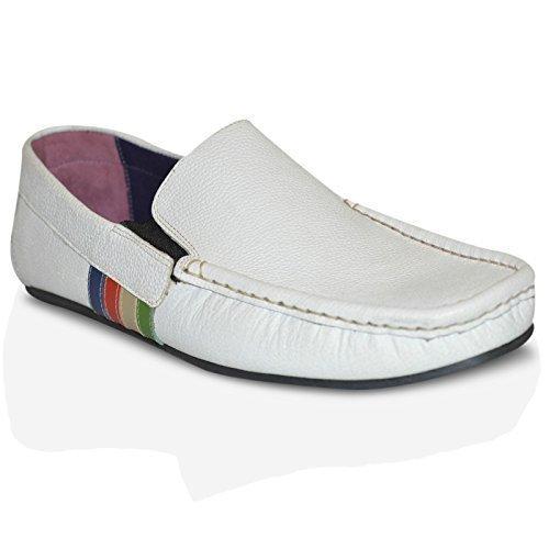 100% Homens Sapatos Motorista De Couro Nova Moda Sapatos Baixos Sapatos Casuais Branco