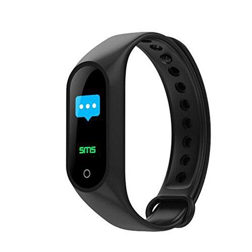 Ocamo Farbe Bildschirm Smart Armband Herz Rate Blutdruckmessgerät Fitness Tracker Armband Geschenk Ornament Schwarz