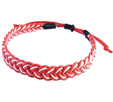 Artisan Asiatique Bracelet Fait Main 100% Ficelle de Coton Couleur Blanc Rouge