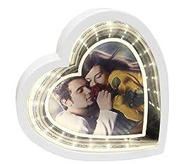 Saphirdesign Spiegel mit Wow-Effekt / LED beleuchtet - auch als Nachtlampe geeignet / Bilderrahmen mit Spiegelfunktion (Herz mit Druck)