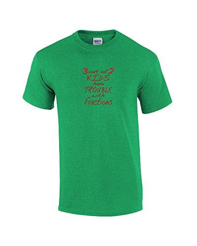 3di 2bambini problemi con frazioni Funny T-Shirt Kelly Green XXXXX-Large