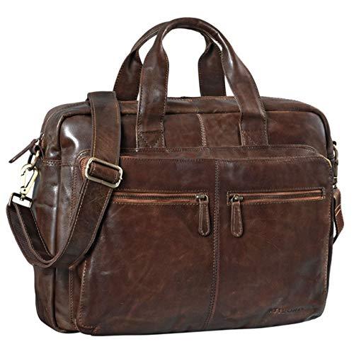 STILORD 'Leandro' Ledertasche Herren Laptoptasche 15.6 Zoll braune Messenger Bag multifunktional tragbar als Handtasche Umhängetasche Trolley Aufsatz Vintage Leder, Farbe:antik - braun -