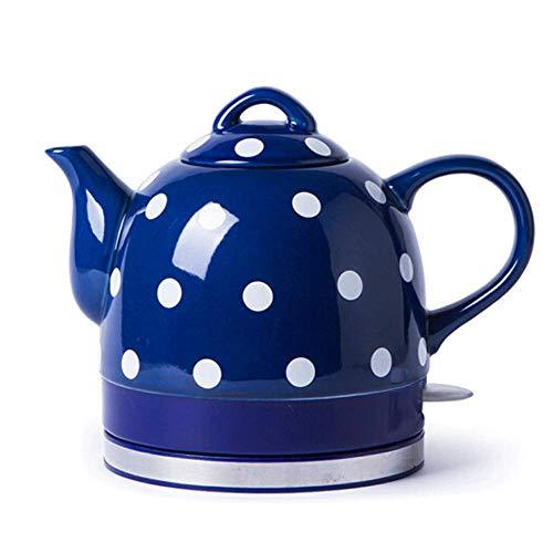 YSkettle Wasserkocher Keramik Blaue Glasurpunkte Abnehmbare Basis Boil Dry Protection 1L 1000W