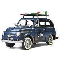 FayooChristmasmodel Azul Fiat Retro Coche artesanías Hechas a Mano Hierro Forjado Regalos hogar Accesorios Metal artesanías
