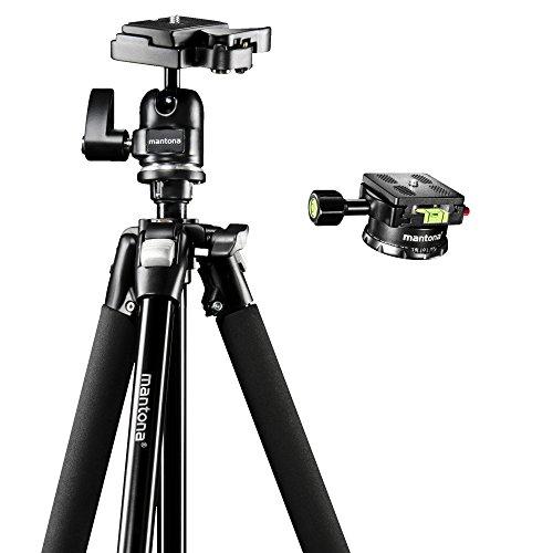 Mantona Basic Scout Set Fotostativ, Kamerastativ bis 144cm, + 360 Grad Panoramakopf, Wasserwaage, umkehrbare Mittelsäule, für Reisen und Outdoor Fotografie für DSLR Kamera, kompakt leichtes Stativ