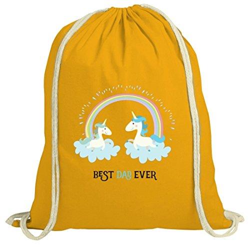 Einhorn Vatertag natur Turnbeutel mit Unicorn Best Dad Ever Motiv von ShirtStreet gelb natur