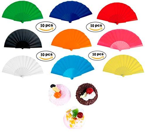 Lote de 50 Abanicos de Plástico y Tela de Colores Variados +...