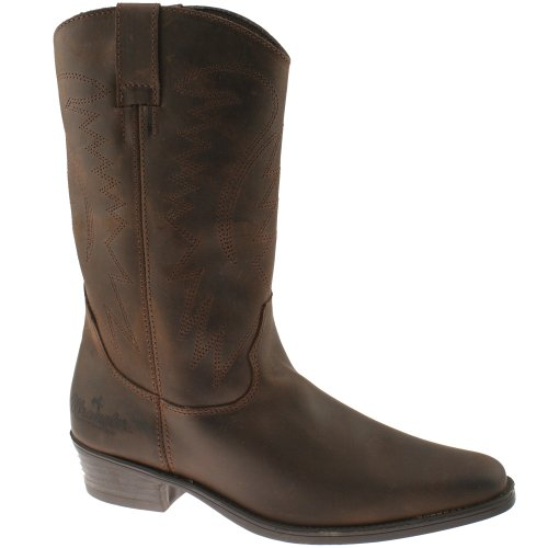 12f09d159da Wrangler TEXAS HI Mens Calf Length Leather Cowboy Boots Dark Brown ...