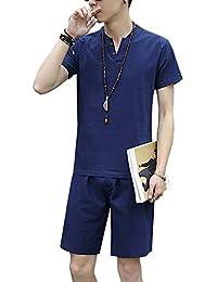 Ensemble De Pyjama En Lin Manches Courtes T-Shirt Et Short Homme