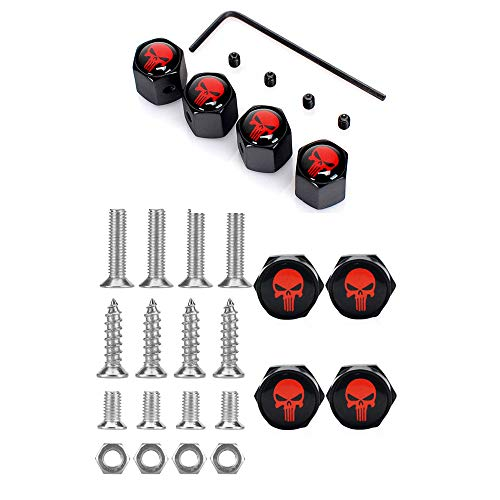 Tcare Logo in metallo cromato Logo antifurto Targa auto bulloni Viti telaio- Regalo 4 Cappucci stelo valvola pneumatici gratuiti (2)