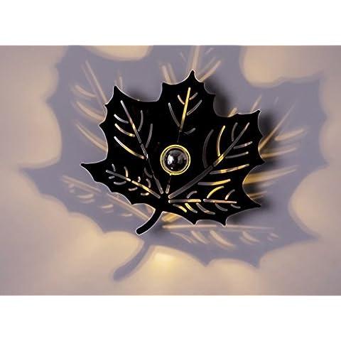 Lámpara de pared de pasillo Lámpara de techo de balcón Lámpara de pared decorativa cálida Lámpara de pared creativa de salón de arce ( Color : Negro , Tamaño : Pequeño )