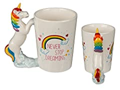 "Idea Regalo - Tienda Eurasia - Tazza con unicorno ""Never Stop Dreaming"""