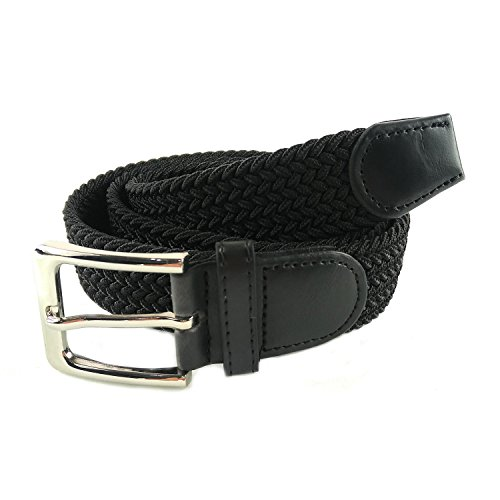 MixYourBeauty MYB Cinturón elástico trenzado para Hombres y Mujeres - múltiples colores y tamaños (115-120 cm, Negro)