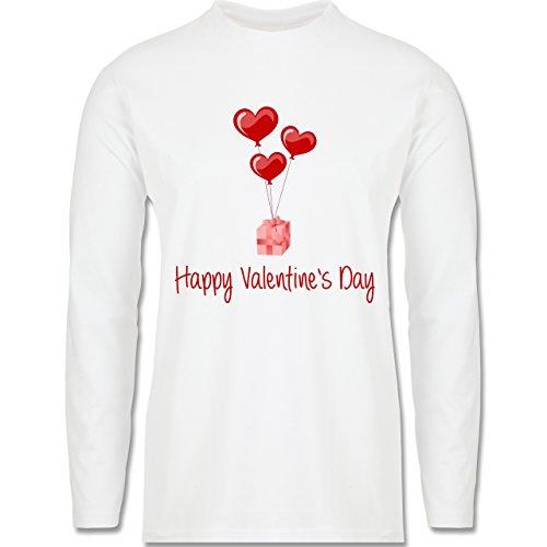 Valentinstag - Happy Valentine's Day Geschenk Herz Luftballon - Longsleeve / langärmeliges T-Shirt für Herren Weiß