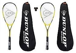 2 x Dunlop raquetas + 3 Lite Nanomax pelotas de Squash £155