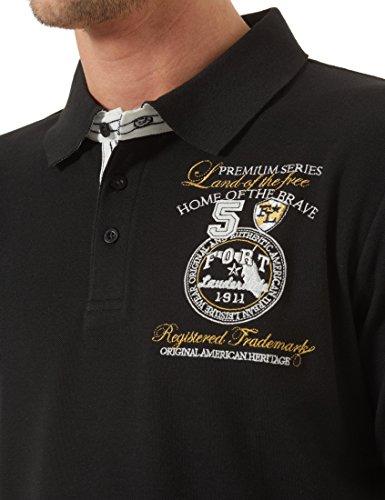 Ultrasport Fort Lauderdale Collection Poloshirt Herren Wadhurst klassisches Herren Polohemd im 3-Knopf-Style, Shirt mit Polokragen für Sport und mehr Schwarz
