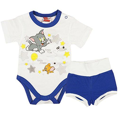 ilig von Tom und Jerry in GRÖSSE 56, 62, 68, 74, 80, 86 weiß und blau, Baby-Schlafanzug mit Druck-Knöpfen, Spiel-Anzug mit Baby-Body und kurzer Hose Size 62 (Schritt 2 Blaue Wagen)