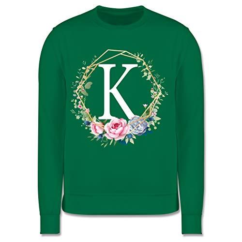 Shirtracer Anfangsbuchstaben Kind - Blumenkranz mit Buchstabe K - 12-13 Jahre (152) - Grün - JH030K - Kinder Pullover Bonny Flower Girl