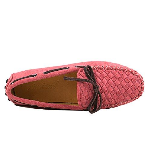ShenDuo Damen Mokassins Leder Ballerinas Driving Schuhe Casual Slipper D7058 Pink