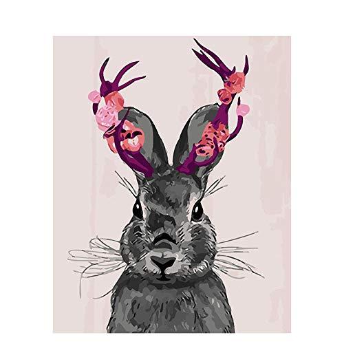 ahlen Für Anfänger Erwachsene und Kinder- Geweih Kaninchen DIY Ölgemälde Geschenk-Kits mit vorgedruckten Leinwand Kunst Home Decoration Wall Halloween Geschenk-40X50CM ()