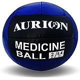 Aurion Medicine Ball-2kg (Blue/Black) Rubber No Bounce Fitness Medicine Ball, 2 Kg (Blue)