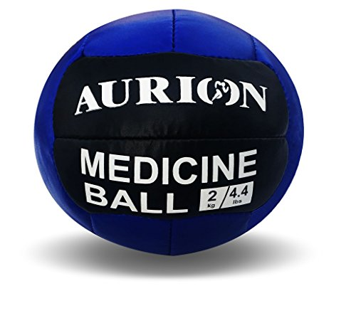 Aurion Medicine Ball-2kg (Blue/Black) Rubber No Bounce Fitness Medicine Ball, 2 Kg (Blue)