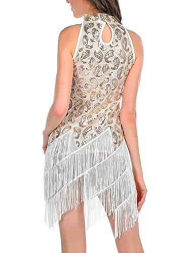 PrettyGuide Femmes 1920S Art Déco Paillette Paisley Flapper Gland Glam Gatsby Robe Blanc