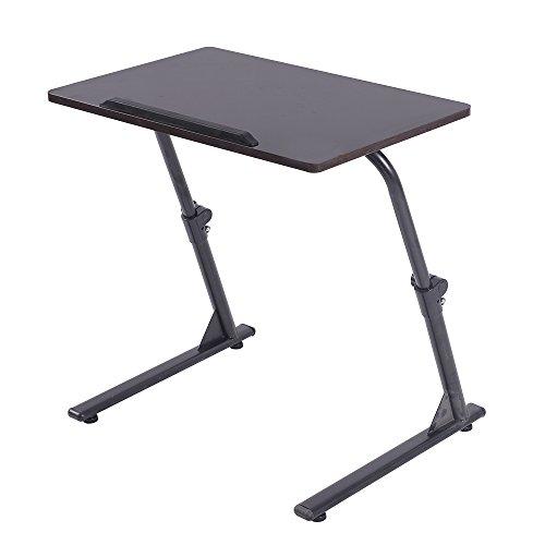 SogesFurniture Laptoptisch Beistelltisch höhenverstellbar, Laptopständer Holz, Tragbarer Notebook Stände für Sofatisch Pflegetisch, Tischplatte drehbar, Schwarz S1-2BK-BH